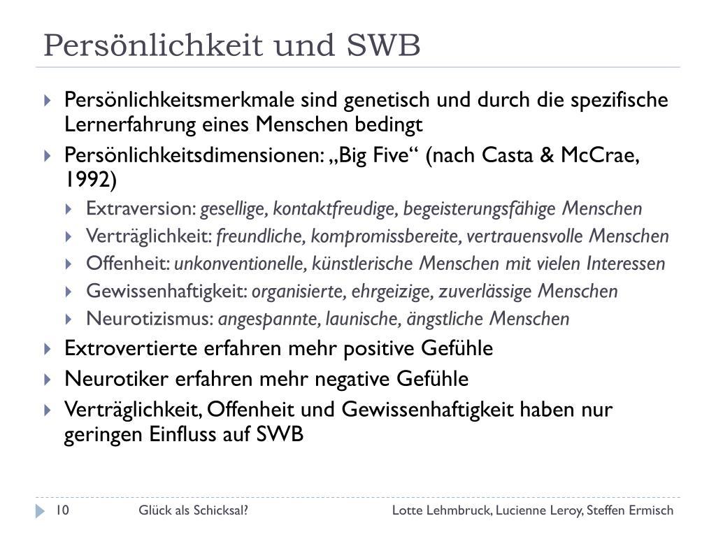 Persönlichkeit und SWB