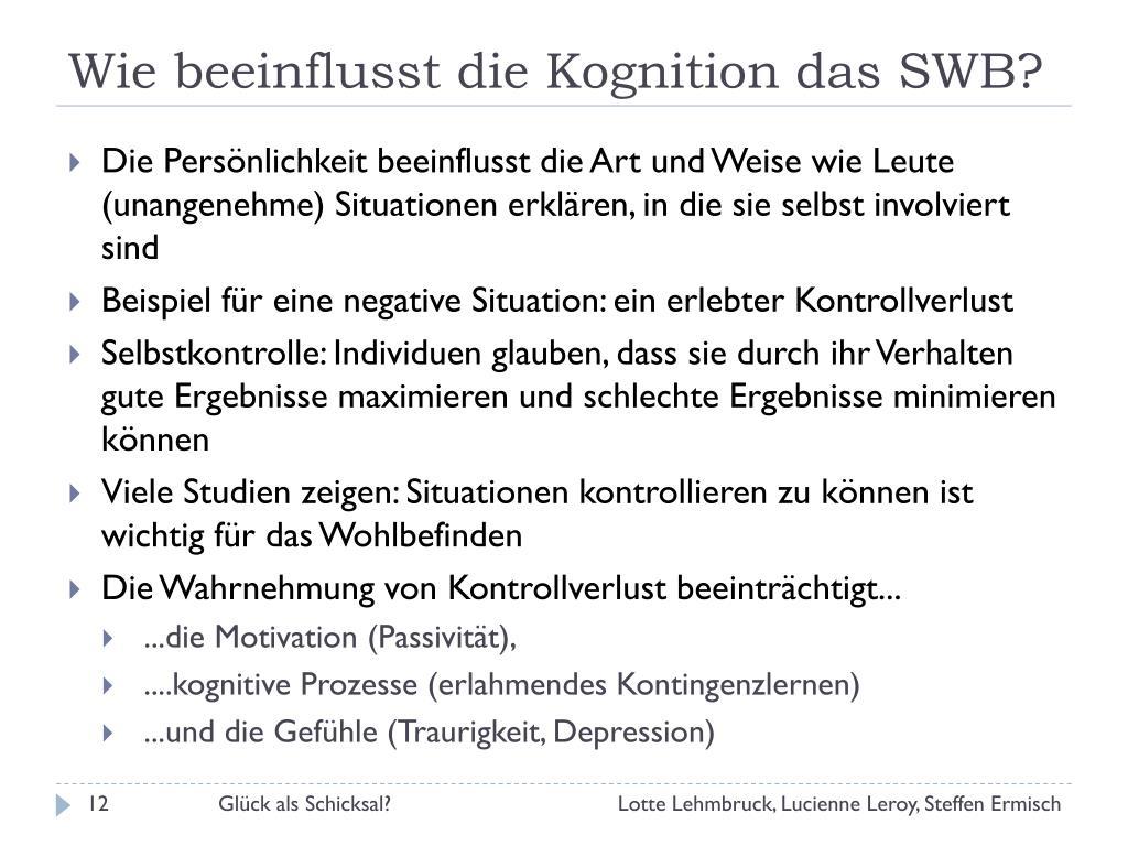 Wie beeinflusst die Kognition das SWB?
