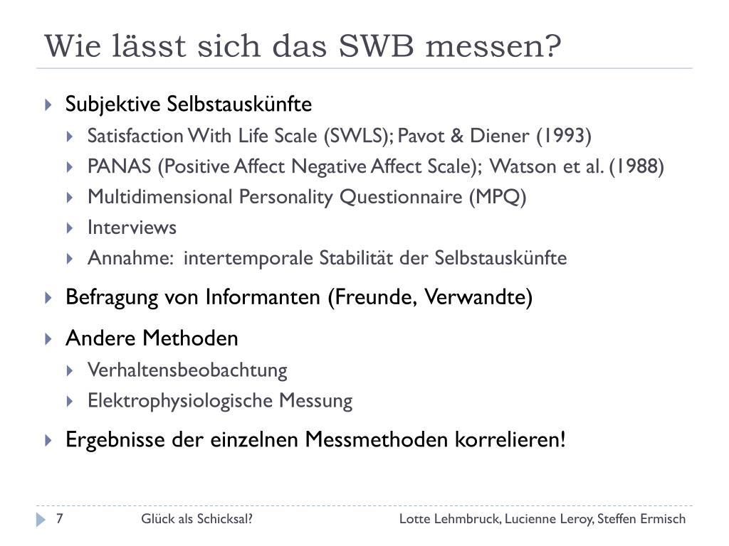Wie lässt sich das SWB messen?