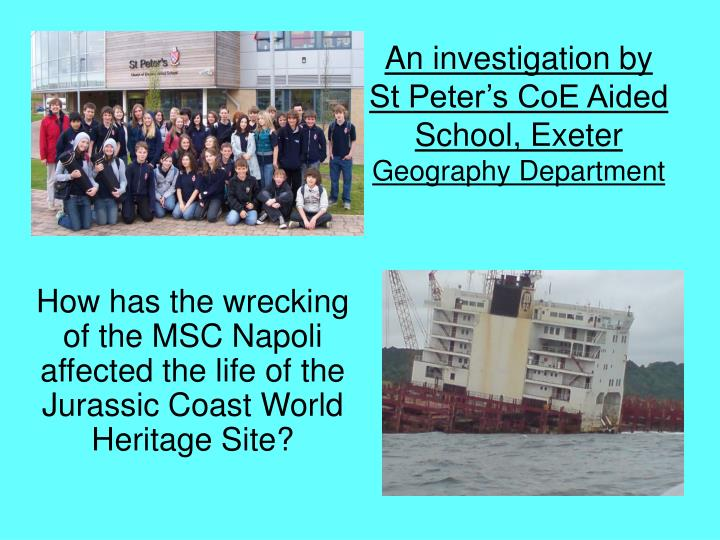 An investigation by st peter s coe aided school exeter geography department