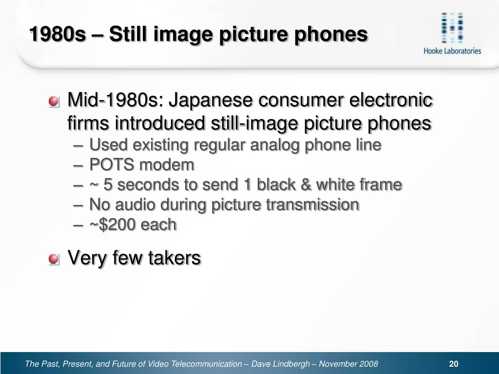 1980s – Still image picture phones