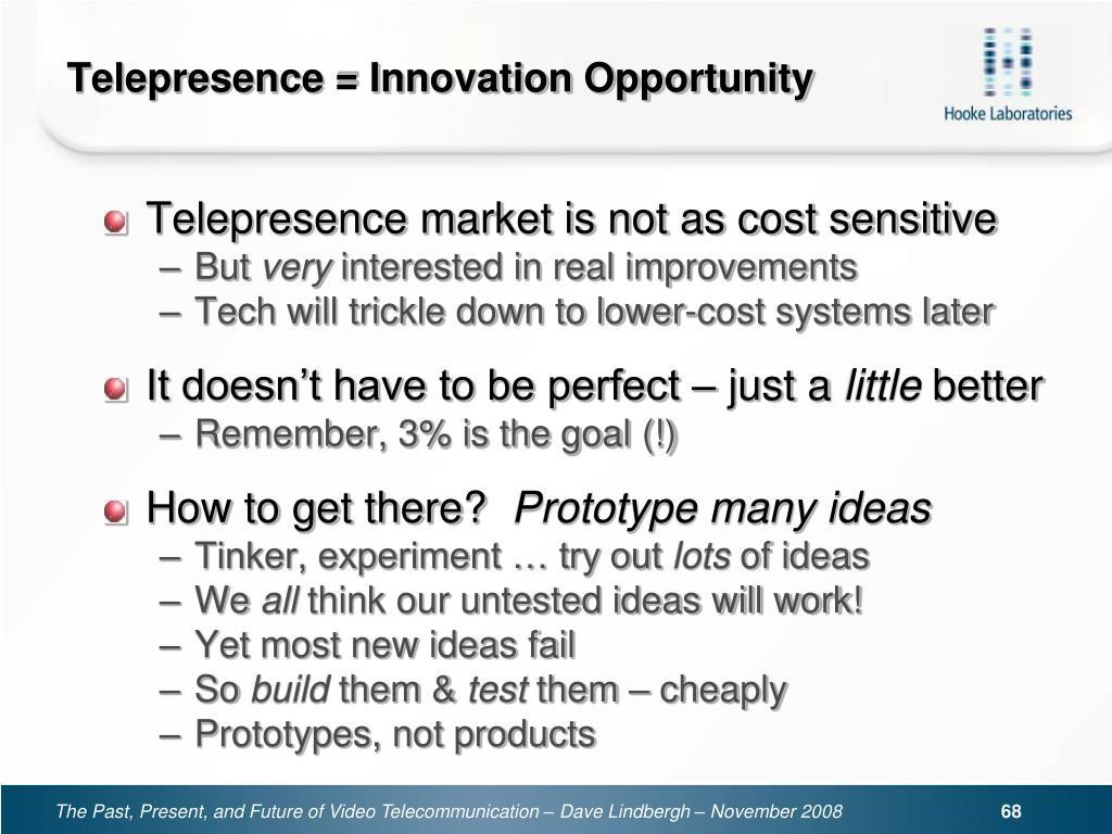 Telepresence = Innovation Opportunity
