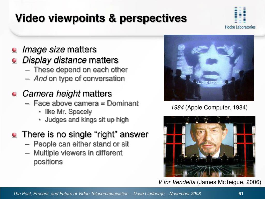 Video viewpoints & perspectives