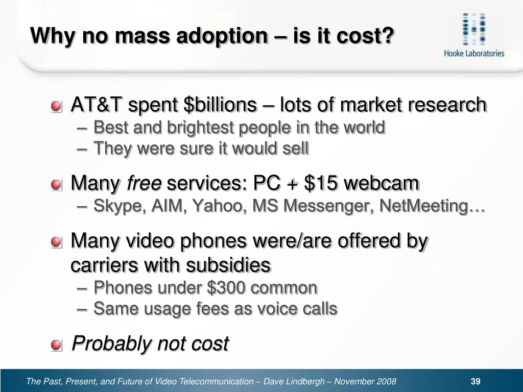 Why no mass adoption – is it cost?