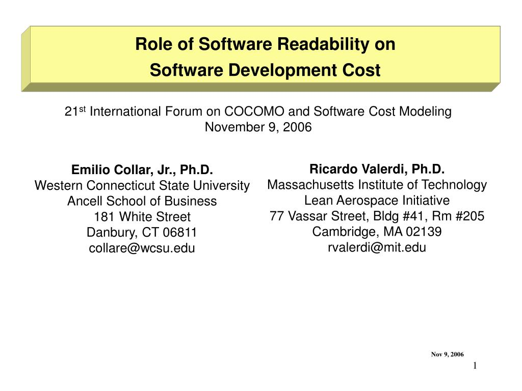 Role of Software Readability on