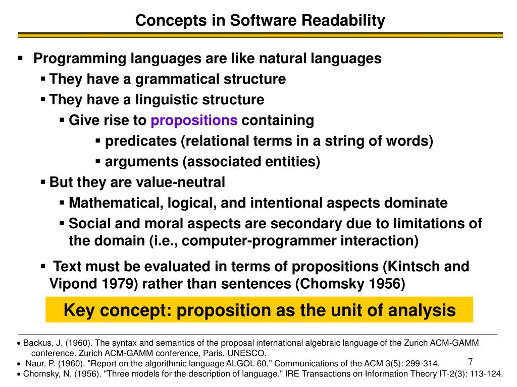 Concepts in Software Readability