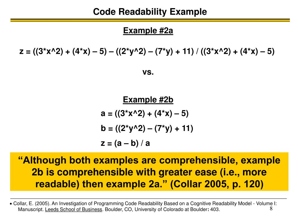 Code Readability Example
