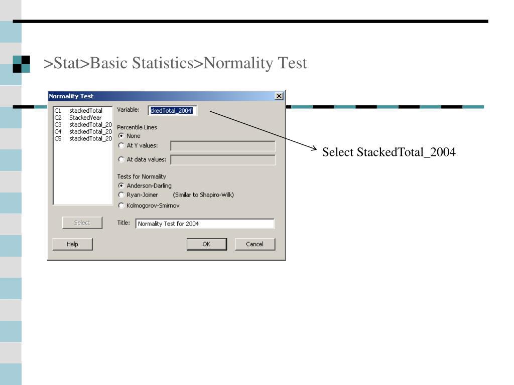>Stat>Basic Statistics>Normality Test