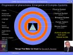 progression of phenomena emergence of complex systems