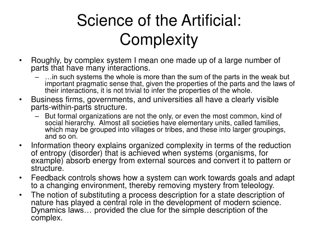 Science of the Artificial: