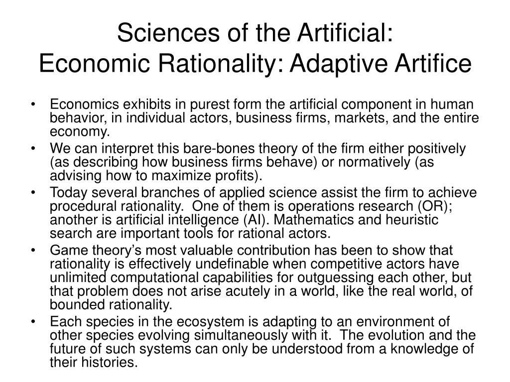 Sciences of the Artificial: