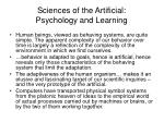 sciences of the artificial psychology and learning