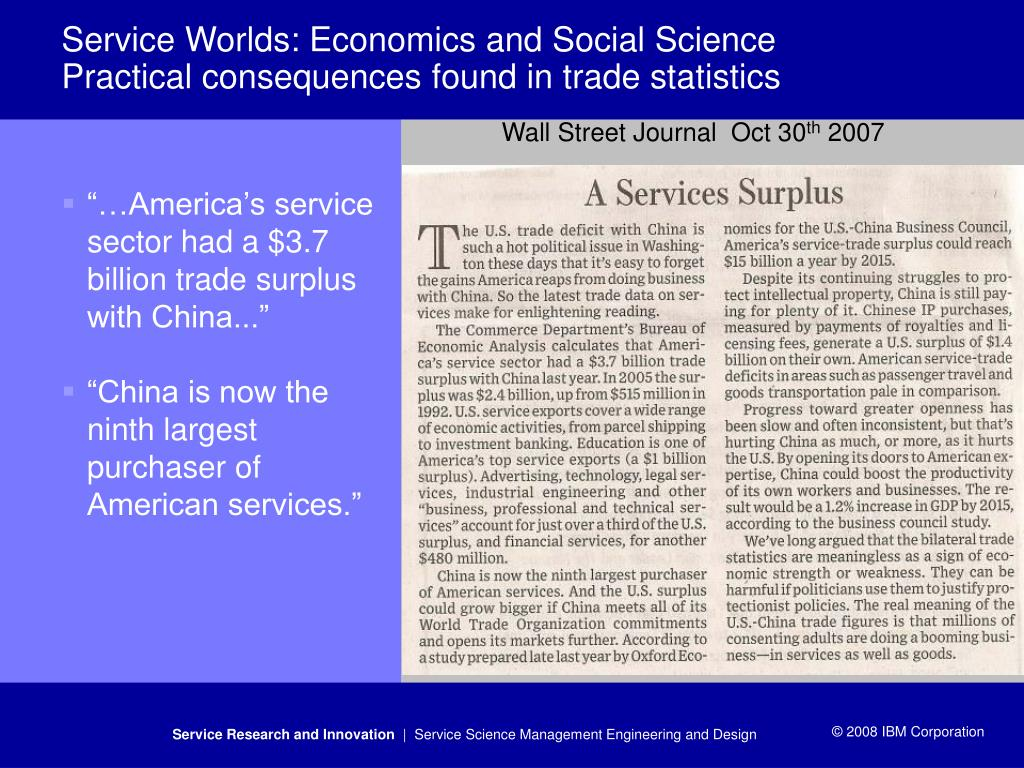 """…America's service sector had a $3.7 billion trade surplus with China..."""
