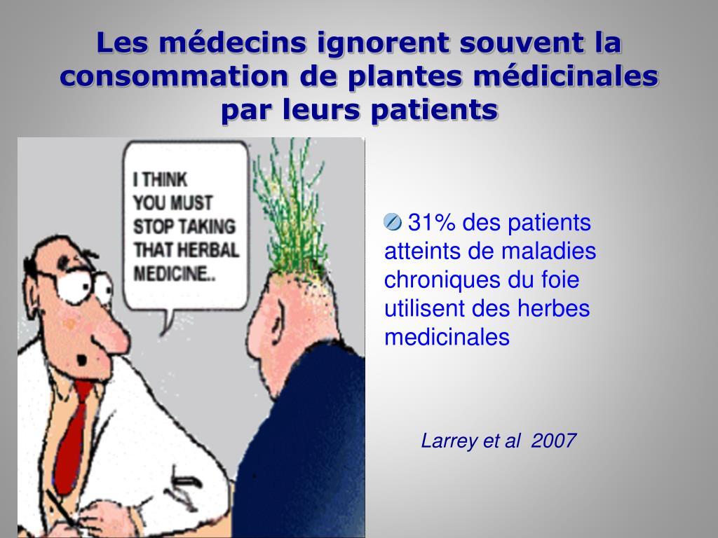 Les médecins ignorent souvent la consommation de plantes médicinales par leurs patients