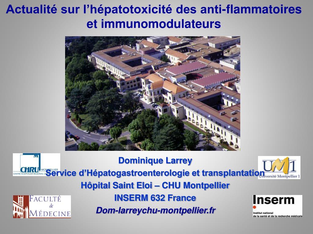 Actualité sur l'hépatotoxicité des anti-flammatoires et immunomodulateurs