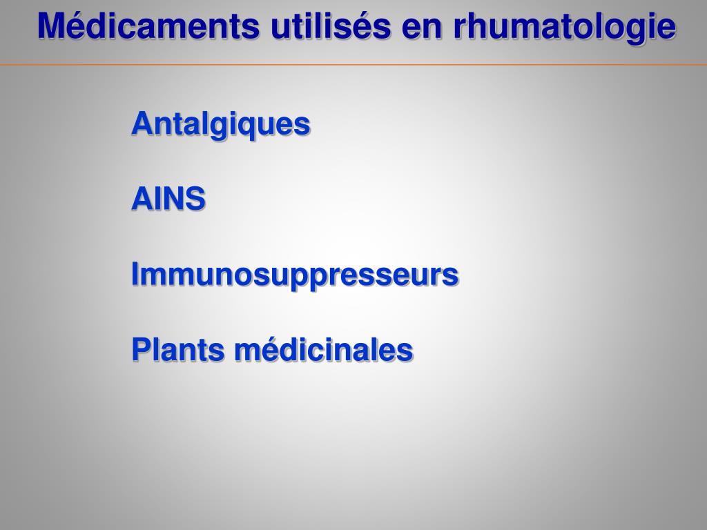 Médicaments utilisés en rhumatologie