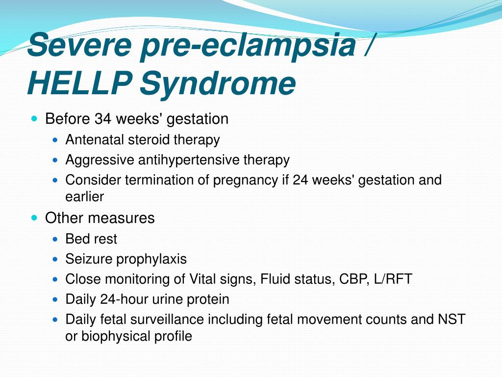 preeclampsia eclampsia hellp syndrome Hellp syndrome is a life-threatening pregnancy complication usually  this rate  is higher than both severe preeclampsia and eclampsia.