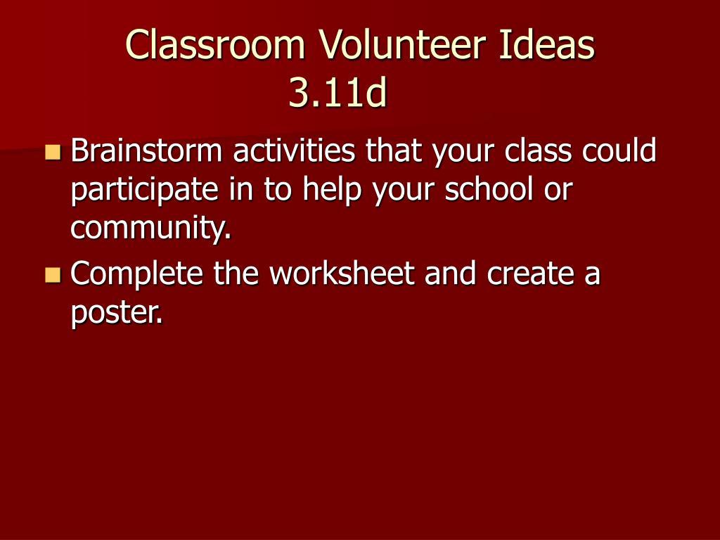 Classroom Volunteer Ideas