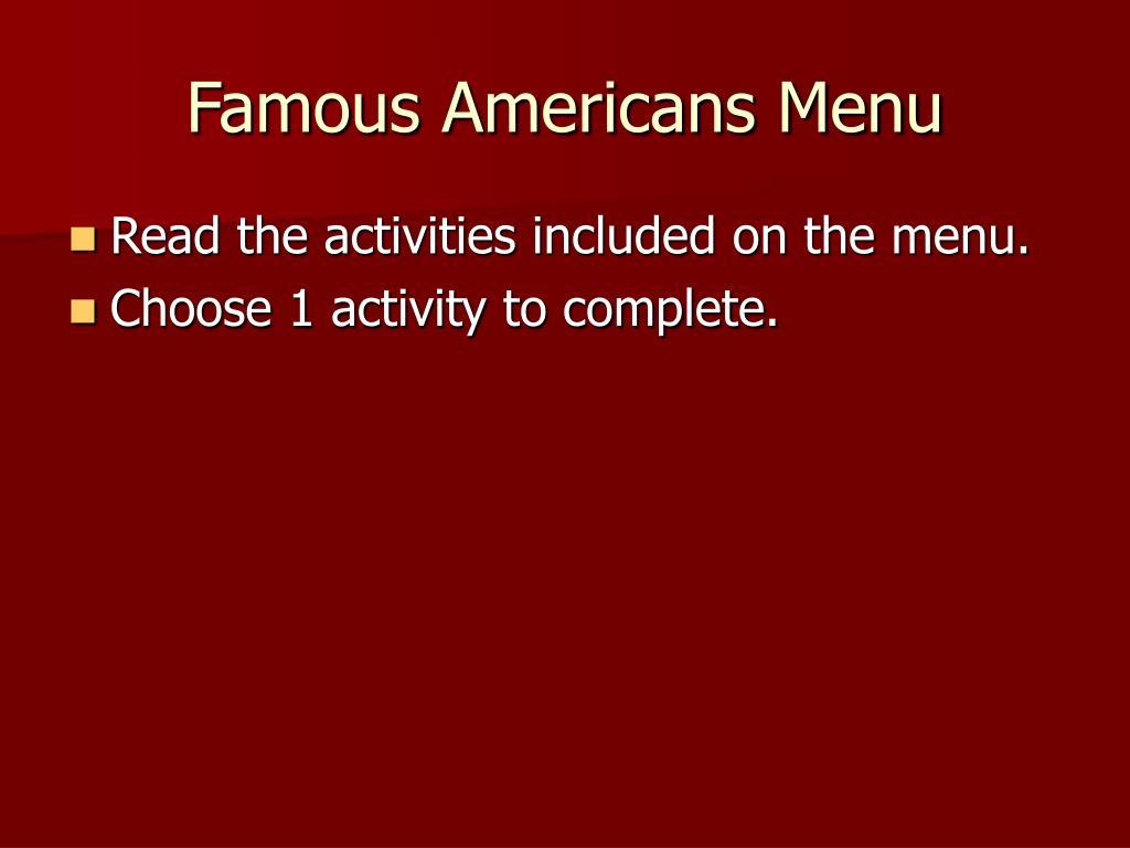 Famous Americans Menu
