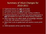 summary of vgla changes for 2010 2011
