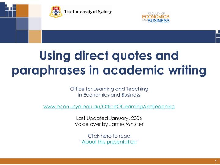 Academic writing using quotes