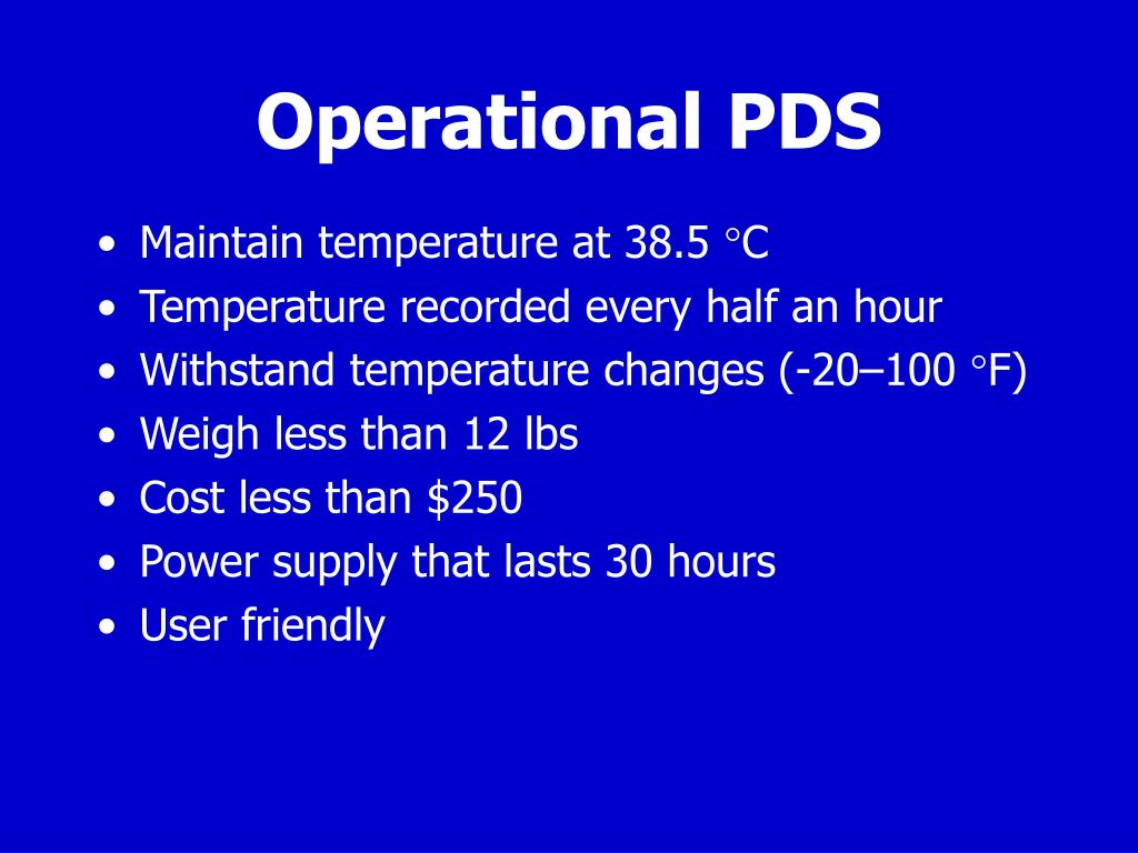 Operational PDS