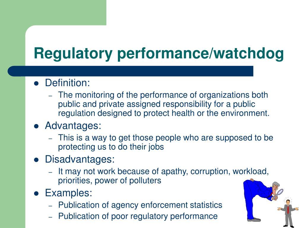 Regulatory performance/watchdog