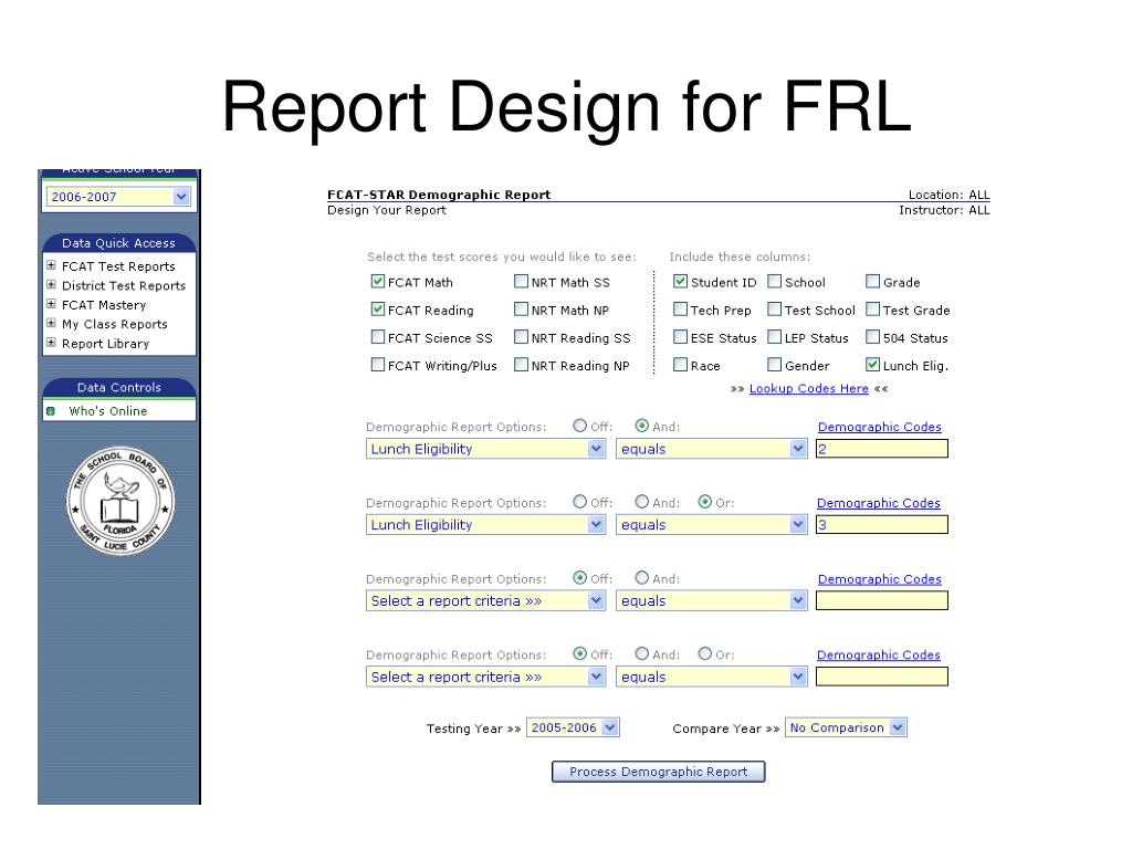 Report Design for FRL