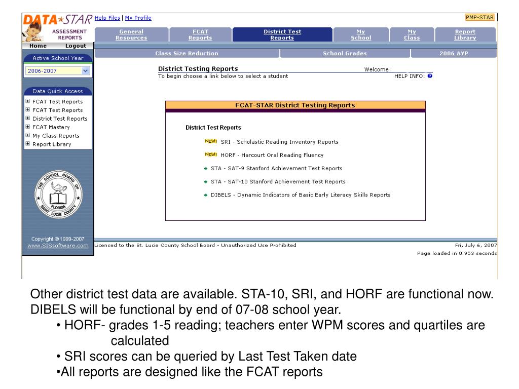 Other district test data are available. STA-10, SRI, and HORF are functional now.