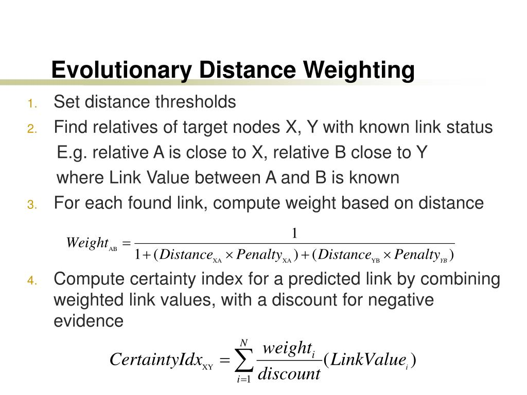 Evolutionary Distance Weighting