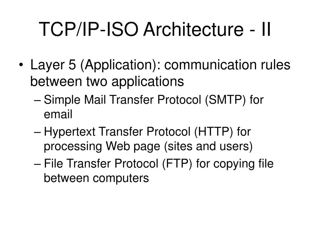 TCP/IP-ISO Architecture - II