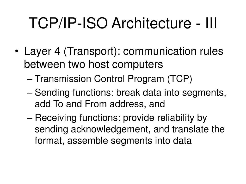 TCP/IP-ISO Architecture - III