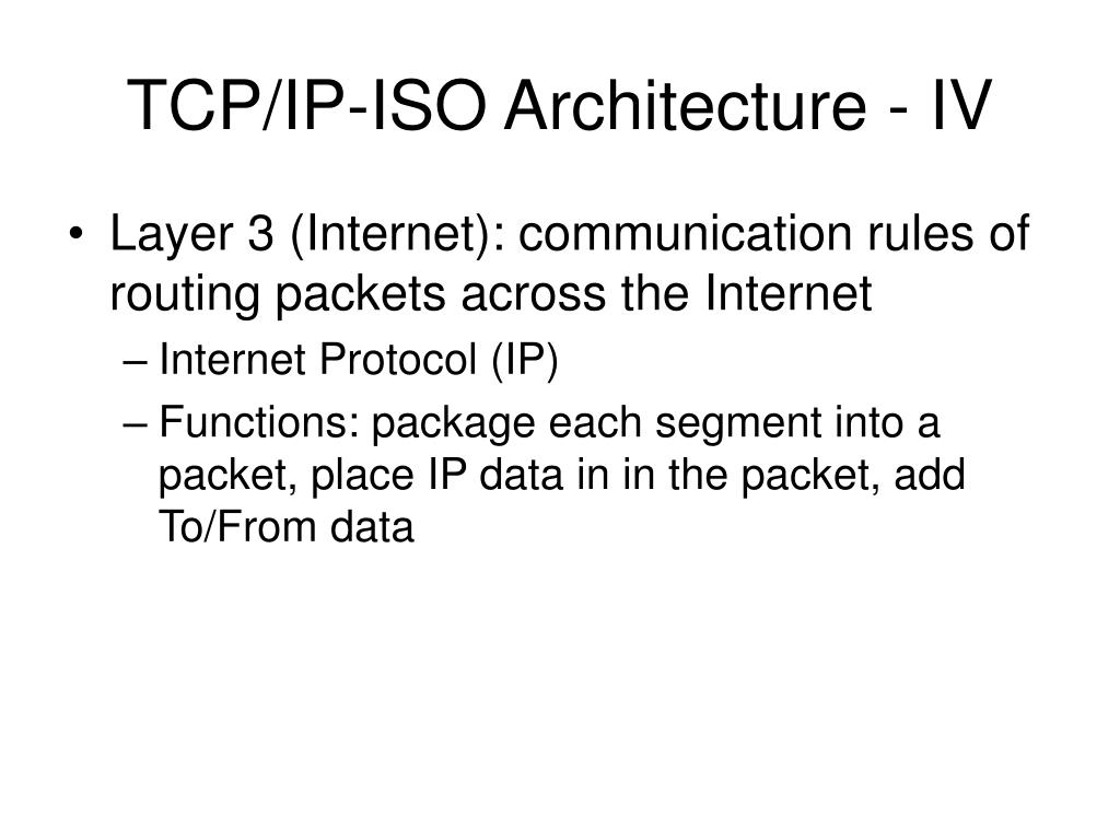 TCP/IP-ISO Architecture - IV