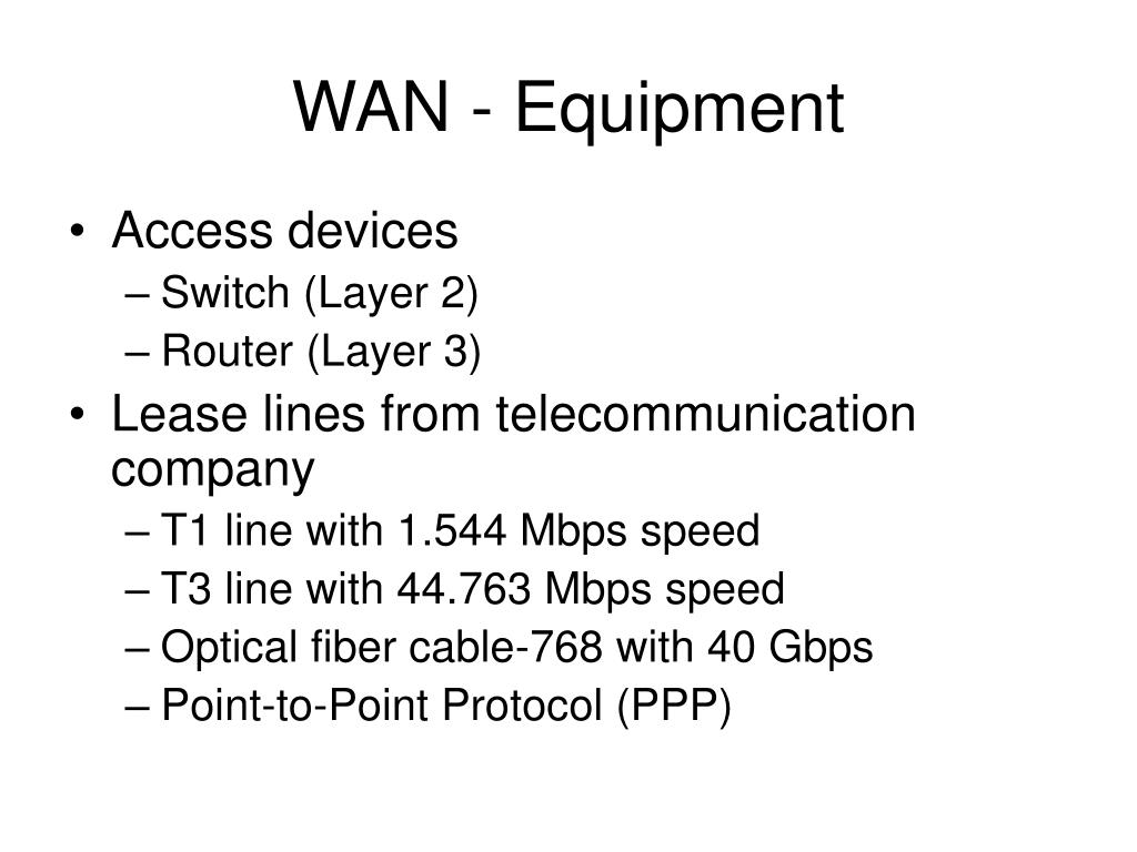 WAN - Equipment