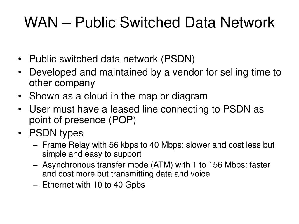 WAN – Public Switched Data Network