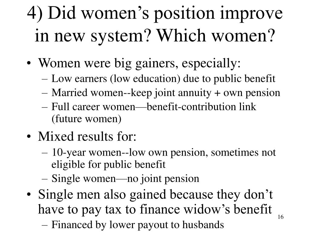 4) Did women's position improve in new system? Which women?