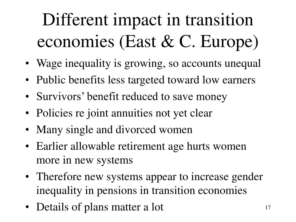 Different impact in transition economies (East & C. Europe)