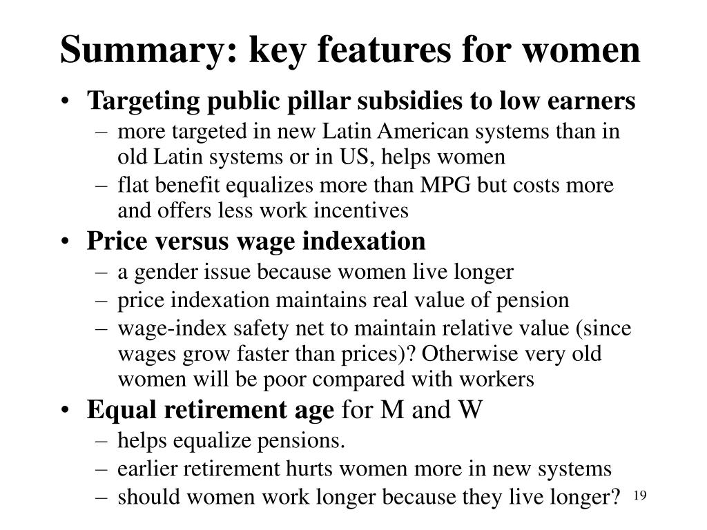 Summary: key features for women
