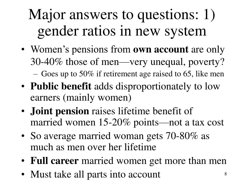 Major answers to questions: 1) gender ratios in new system