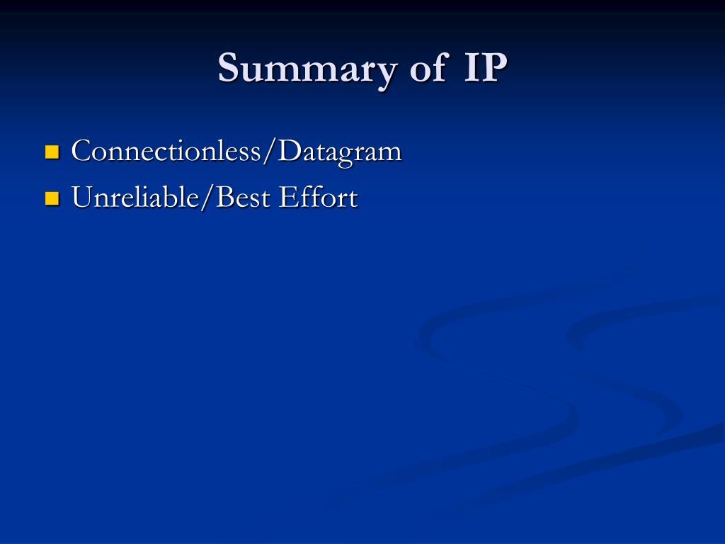Summary of IP