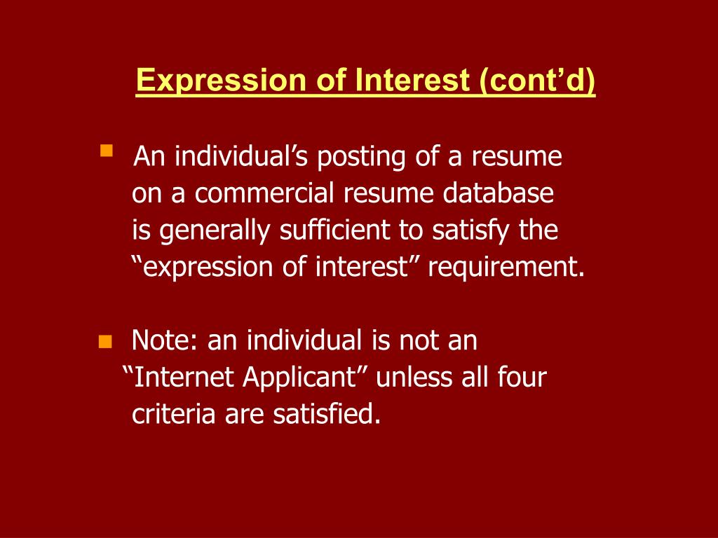 Expression of Interest (cont'd)