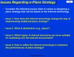 issues regarding e place strategy