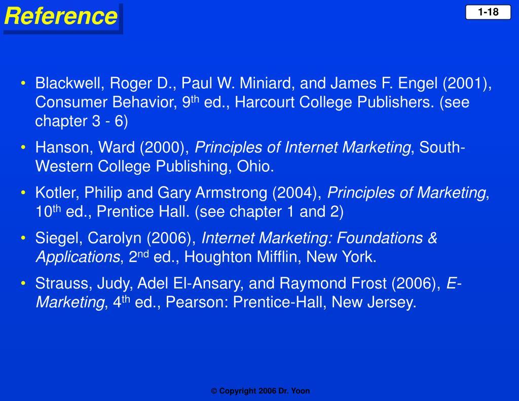 Blackwell, Roger D., Paul W. Miniard, and James F. Engel (2001), Consumer Behavior, 9