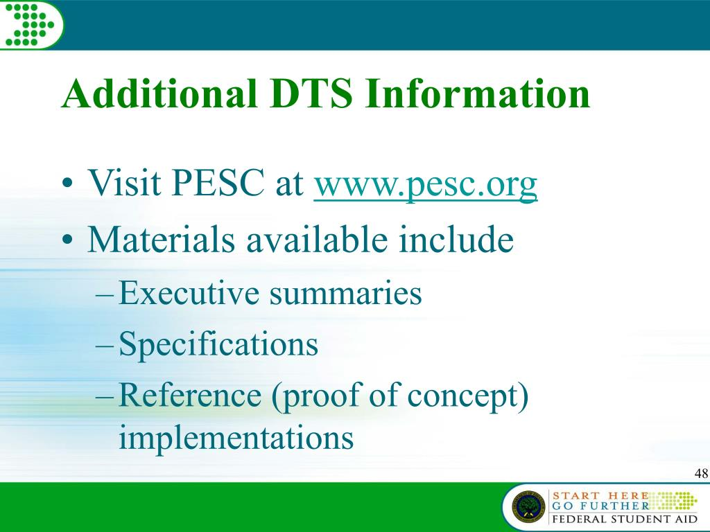 Additional DTS Information