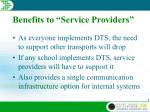 benefits to service providers