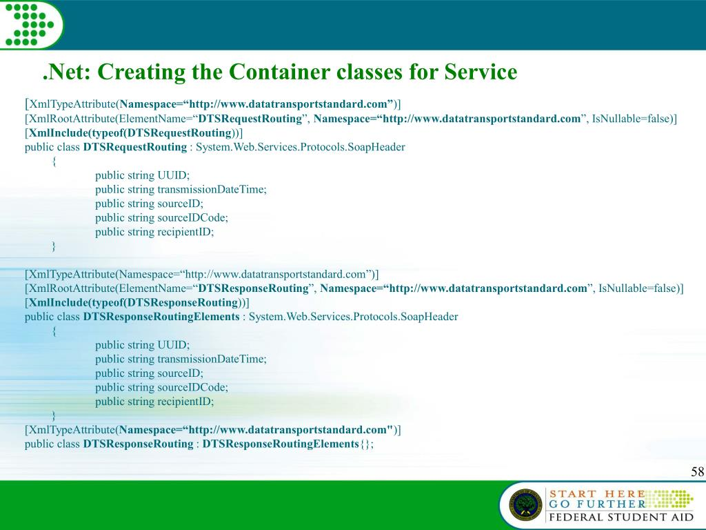 .Net: Creating the Container classes for Service
