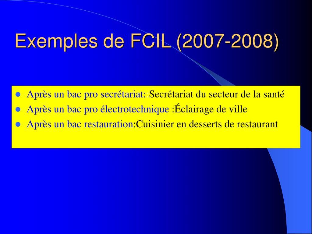 Exemples de FCIL (2007-2008)