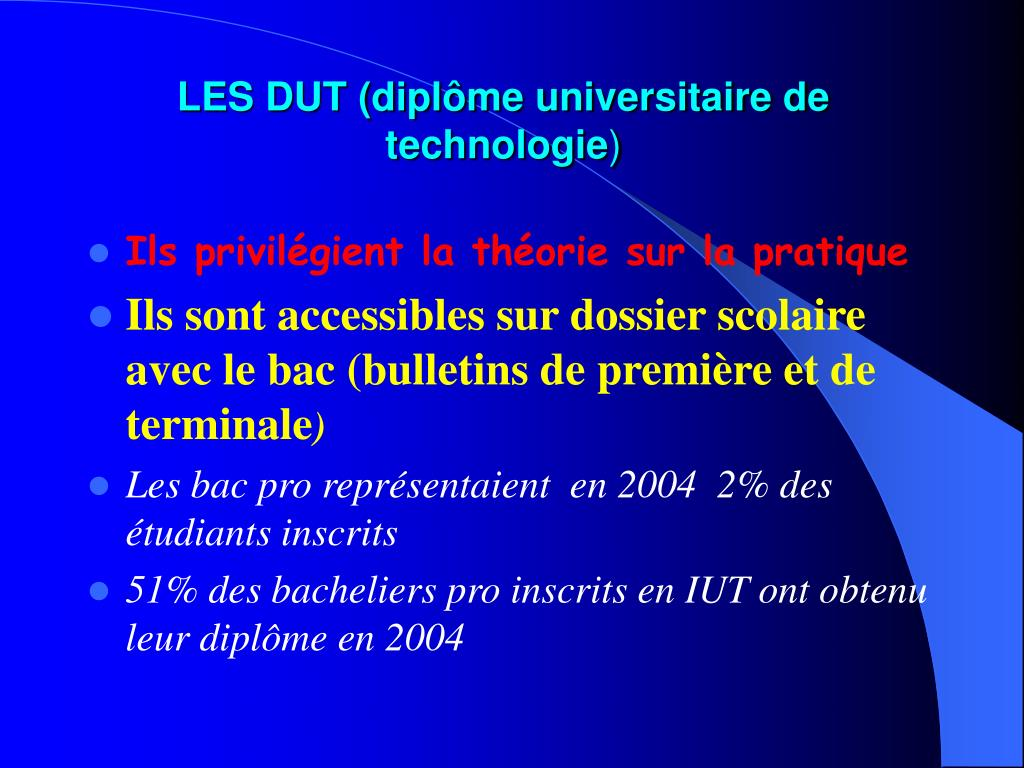 LES DUT (diplôme universitaire de technologie