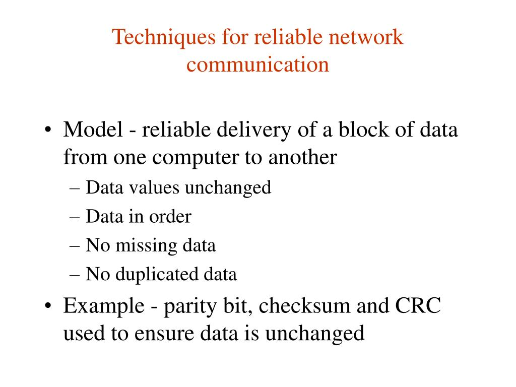 Techniques for reliable network communication