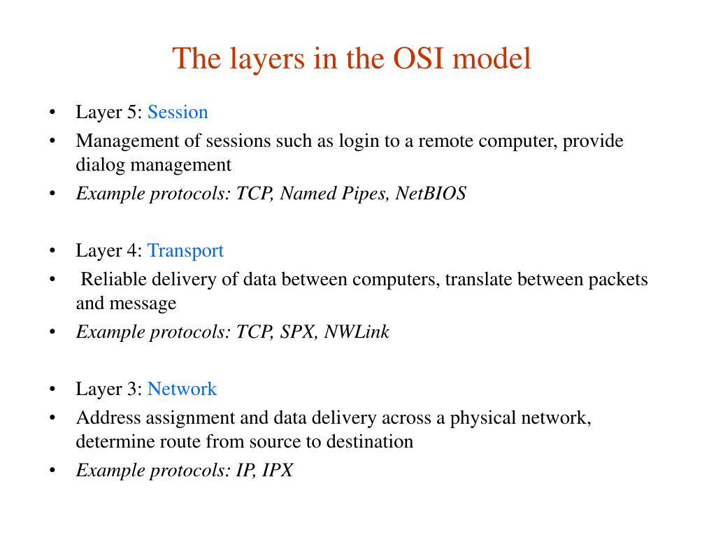 The layers in the OSI model